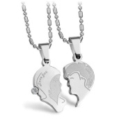 His & Hers Matching Set Titanium Couple Pendant Necklace FACE TO FACE Korean Love Style in a Gift Box
