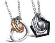 Couple Titanium Necklace Set We Love Each Other Love Valentine, Packed with a Gift Box