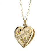 "14k Yellow Gold Filled Tricolour ""Grandma"" Heart Locket Pendant Necklace, 45.7cm"