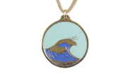 Round Hokusai Wave Pendant Necklace with Light Blue Sky on Adjustable Cord - Cast from Disarmed Nuclear Weapon Systems