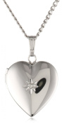 Sterling Silver Diamond-Accented Heart Locket Necklace, 45.7cm