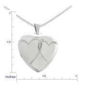Sterling Silver Double Hearts Locket Pendant Necklace, 45.7cm