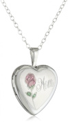 "Momento Lockets Sterling Silver Heart Shaped ""Mom"" Locket with Rose Necklace"
