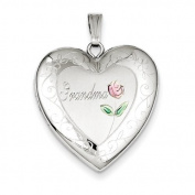 Sterling Silver 24mm Enamelled & D/C Grandma Heart Locket