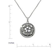 Sterling Silver Round Embossed Antique Finish Locket Necklace, 50.8cm
