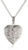 Sterling Silver Engraved Flowers Heart Locket Pendant, 45.7cm