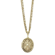 Brass-tone Oval Locket on 40.6cm Double Chain Necklace