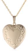 14k Yellow Gold Filled Engraved Heart Locket, 50.8cm