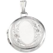 Sterling Silver Round Locket with Embossed Flowers