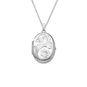 Sterling Silver Engraved Flower 4-Picture Oval Locket, 50.8cm