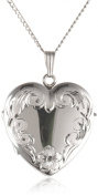Sterling Silver Engraved 4-Picture Heart Locket, 50.8cm