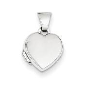 14k White Gold Polished Heart-Shaped Locket