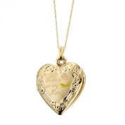 "Duragold 14k Yellow Gold ""Forever In My Heart"" Heart Locket with Pink Rose Pendant Necklace, 45.7cm"