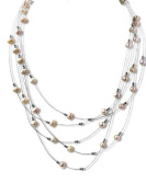 Five Strand Pink Pearl Illusion Necklace SKU#