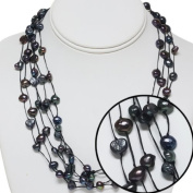 """17"""" Genuine 7-8mm Black Freshwater Pearl 5 Strand Knotted Necklace"""