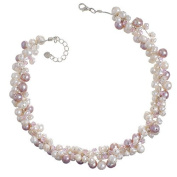 Chuvora Genuine Pink Cultured Fresh Water Pearl with Crystal 3-Strand Silk Thread Cluster Necklace 40.6cm -43.2cm Princess Length