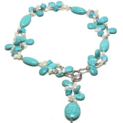 61cm Beautiful Turquoise & White Freshwater Pearl Necklace With Toggle Hook