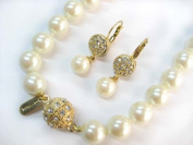 Formal Cream/Champagne Colour Pearl Necklace & Matching Earring - Bridesmaid Jewellery SET