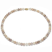 "14k Yellow Gold 7-8mm Pink Multi-colour Freshwater Pearl Necklace 18"" Length with Filigree Clasp."