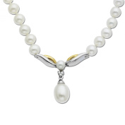 S & G Sterling Silver and 14k Yellow Gold Freshwater Cultured Pearl and Diamond Drop Necklace (0.01cttw, I-J Colour, I3 Clarity), 43.2cm