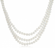 """3-Row White A Grade Freshwater Cultured Pearl Necklace with Sterling Silver Clasp (6.5-7mm ), 17"""", 18""""/19"""""""