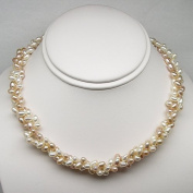 Freshwater Pearl Twisted Necklace, Pink and White Natural Colour