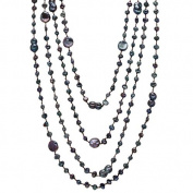 "HinsonGayle ""Selena"" Four-Strand Handpicked Ultra-Orient Peacock Black Cultured Pearl Necklace"
