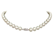 """AAA+ Genuine Round 8-8.5mm White Pearl Necklace 14K White Gold Clasp 16"""" Cultured Freshwater"""