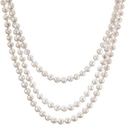 HinsonGayle Glamour Collection Handpicked Ultra-Lustre 7.0-7.5mm White Circlé Baroque Cultured Pearl Rope Necklace