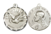 Holy Spirit & Sacred Heart of Jesus Medal, Sterling Silver Pendant with 61cm Stainless Steel Chain