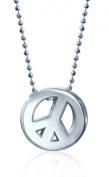 """Alex Woo """"Little Faith"""" Sterling Silver Peace Sign Pendant Necklace, 40.6cm"""
