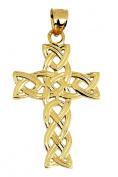 14K Gold Celtic Trinity Cross Pendant