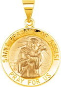 Hollow Round St. Francis of Assisi Medal in 14k Yellow Gold