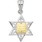 Sterling Silver and 14K Yellow Gold Star of David Pendant Necklace, 61cm