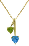 14k Solid Gold 45.7cm Necklace with Peridot & Blue Topaz Hearts