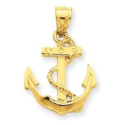 14k Gold Solid Polished Anchor Pendant