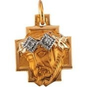 14K Yellow Gold 12.00X11.5Mm Head Of Jesus Crown Cross Pendant With Diamond