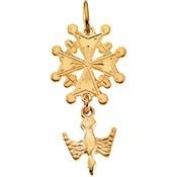 14K Yellow Gold 24.50X12mm Huguenot Cross Pendant