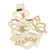 14k Yellow Gold, Heart Design 15 Anos Quinceanera Pendant Charm with Precision Laser Engravings