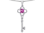 Tommaso Design(tm) Key to my Heart Clover Key Pendant with Round Created Pink Sapphire and Genuine Diamond in 14 kt White Gold