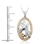 10k White Gold Mother and Baby Bird Diamond Pendant Necklace