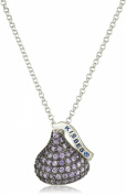 Hershey Jewellery Sterling Silver Cubic Zirconium Medium Flat Back February Pendant