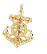 Anchor Pendant 14k Yellow and Rose Gold Crucifix Charm