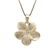 Plumeria Necklace Pendant with Diamond in 14K Yellow Gold with Box Chain-13mm