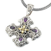 925 Silver & Amethyst Celtic Cross Pendant with 18k Gold Accents