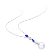 Cultured Freshwater Pearl with 3/8 ct. Sapphire and 0.04 ct. Diamond Pendant in 14K White Gold