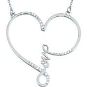 1/8 Ct. Love Heart Diamond Necklace in Sterling Silver, 45.7cm