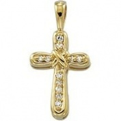 14K Yellow Gold 15.00X10mm Cross Pendant With Diamond