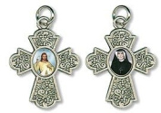 Divine Mercy & Blessed Faustina Devotional Cross 2 Images Medal Pendant Crucifix
