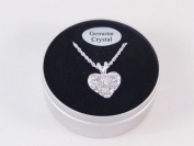 Genuine Crystal Heart Necklace in Tin Gift Box